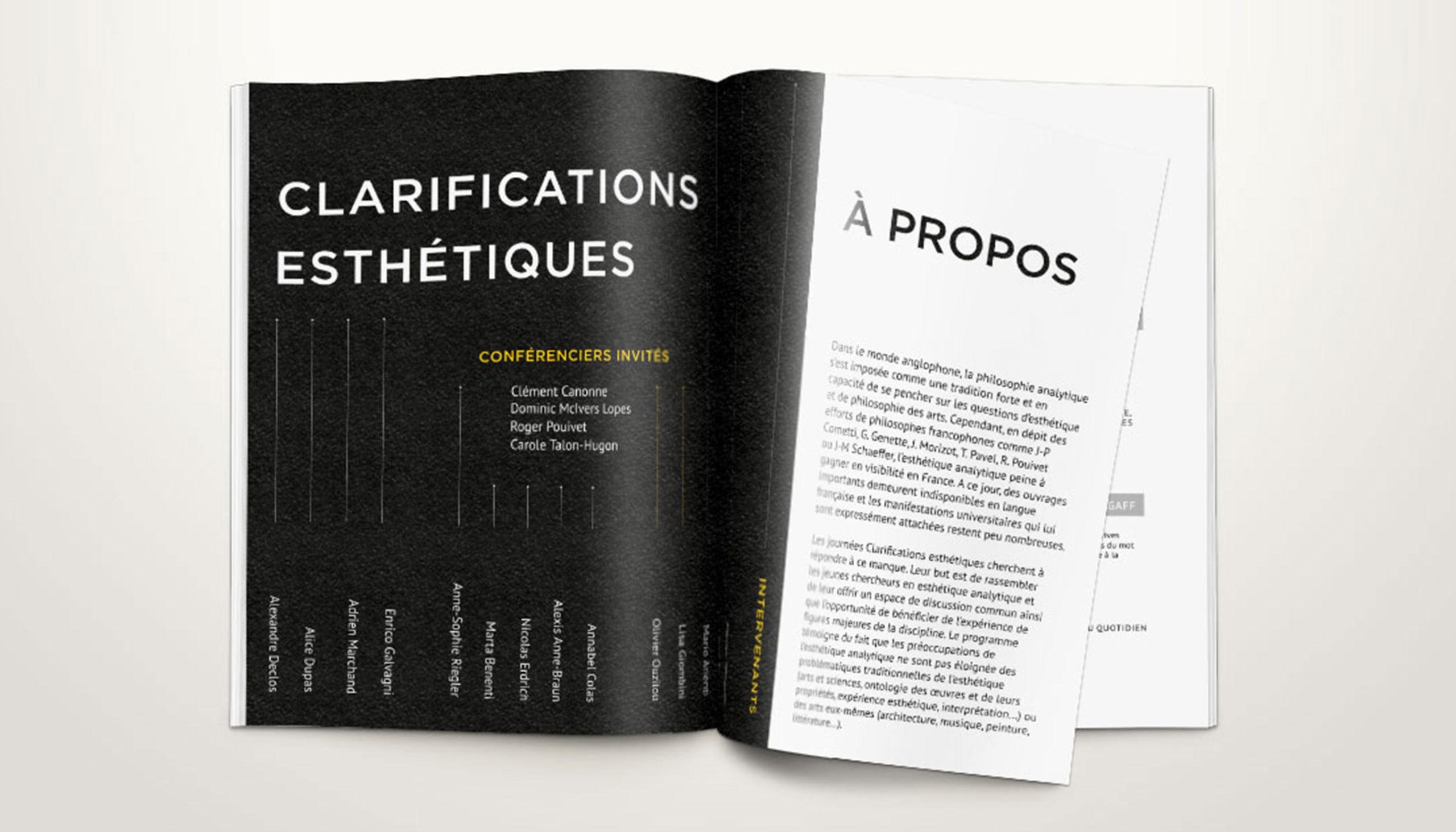 Léa Candat _ Graphiste - Webdesigner _ Nancy _ Projets _ Graphisme _  Programme _ Clarifications esthétiques