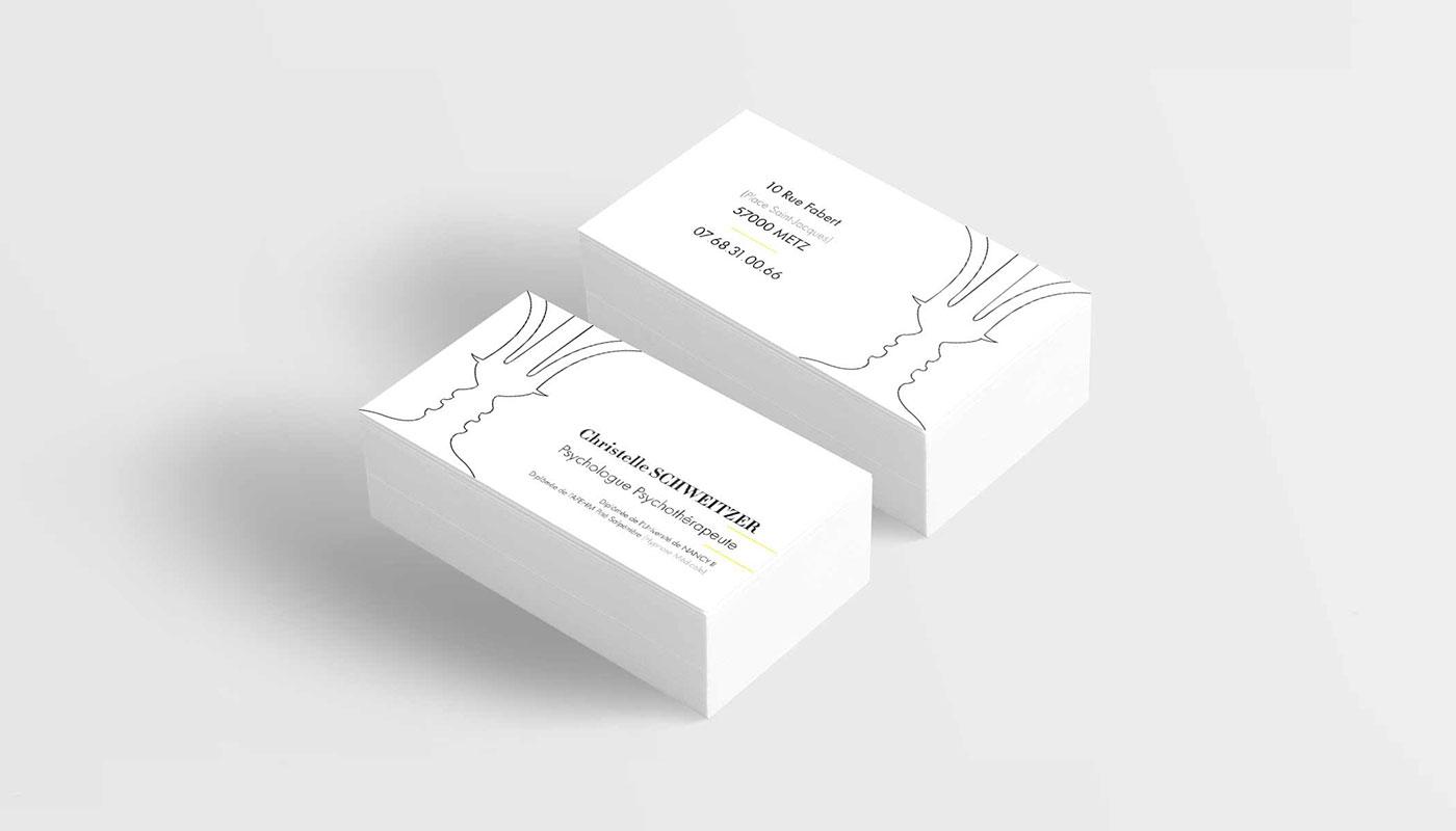 Léa Candat _ Graphiste - Webdesigner _ Nancy _ Projets _ Graphisme _ Carte de visite _ Christelle Schweitzer